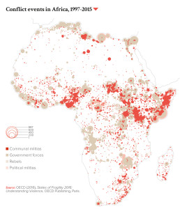 Conflict events in Africa, 1997-2015