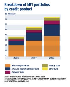 Breakdown of MFI portfolios by credit product