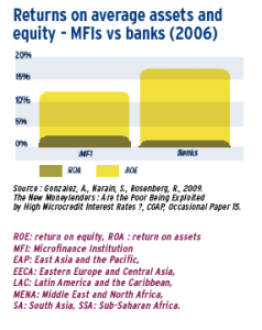 Returns on average assets and equity - MFI s vs banks (2006)