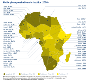 Mobile phone penetration rate in Africa (2008)