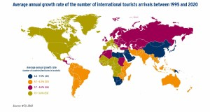 Average annual growth rate of the number of international tourists arrivals between 1995 and 2020